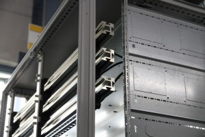Detailed view of a fully tinned busbar system in the control cabinet