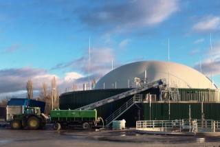 Biogas plant with delivery biomass